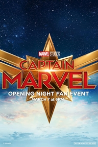 Poster for Opening Night Fan Event Captain Marvel